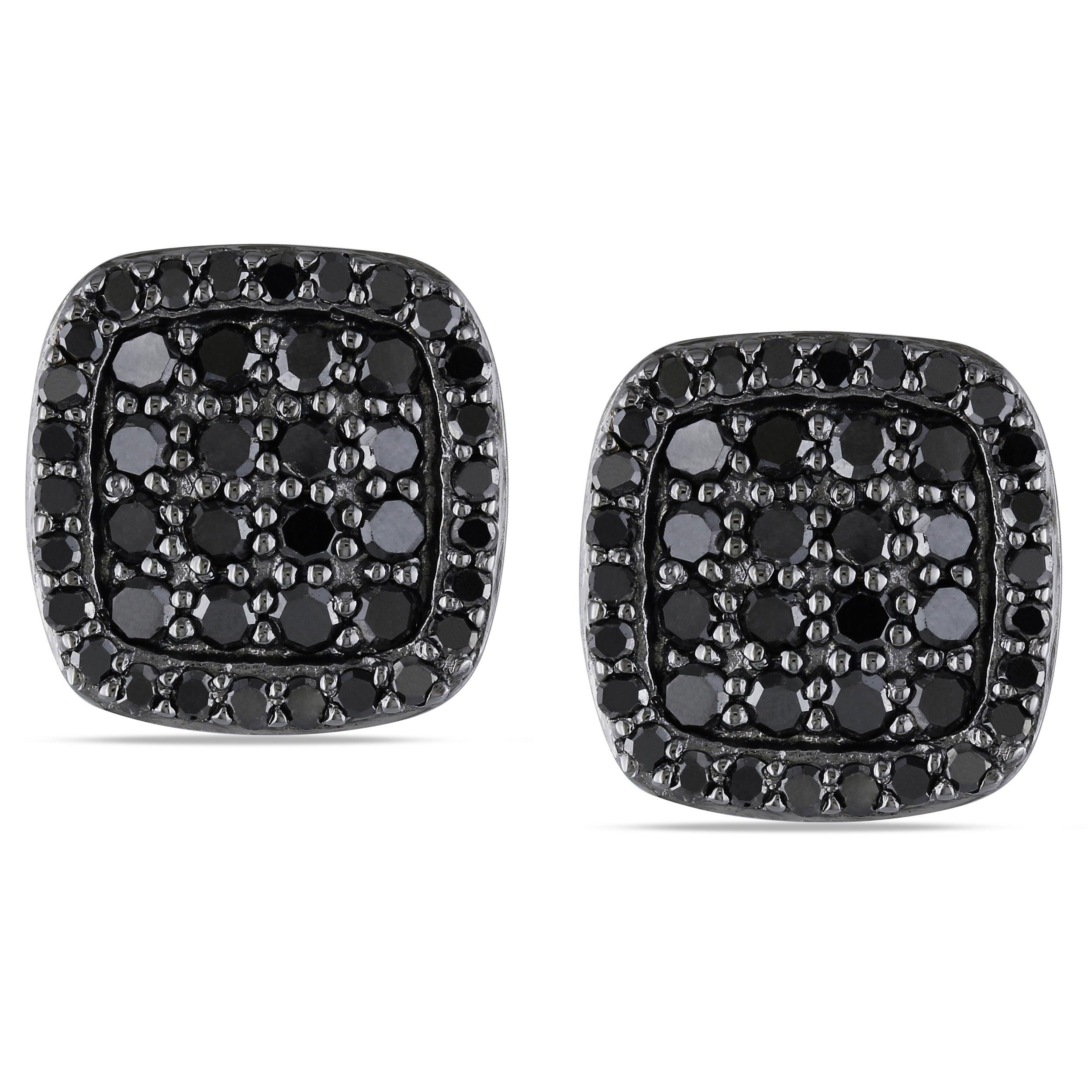 Miadora Sterling Silver 1ct TDW Black Diamond Stud Earrings