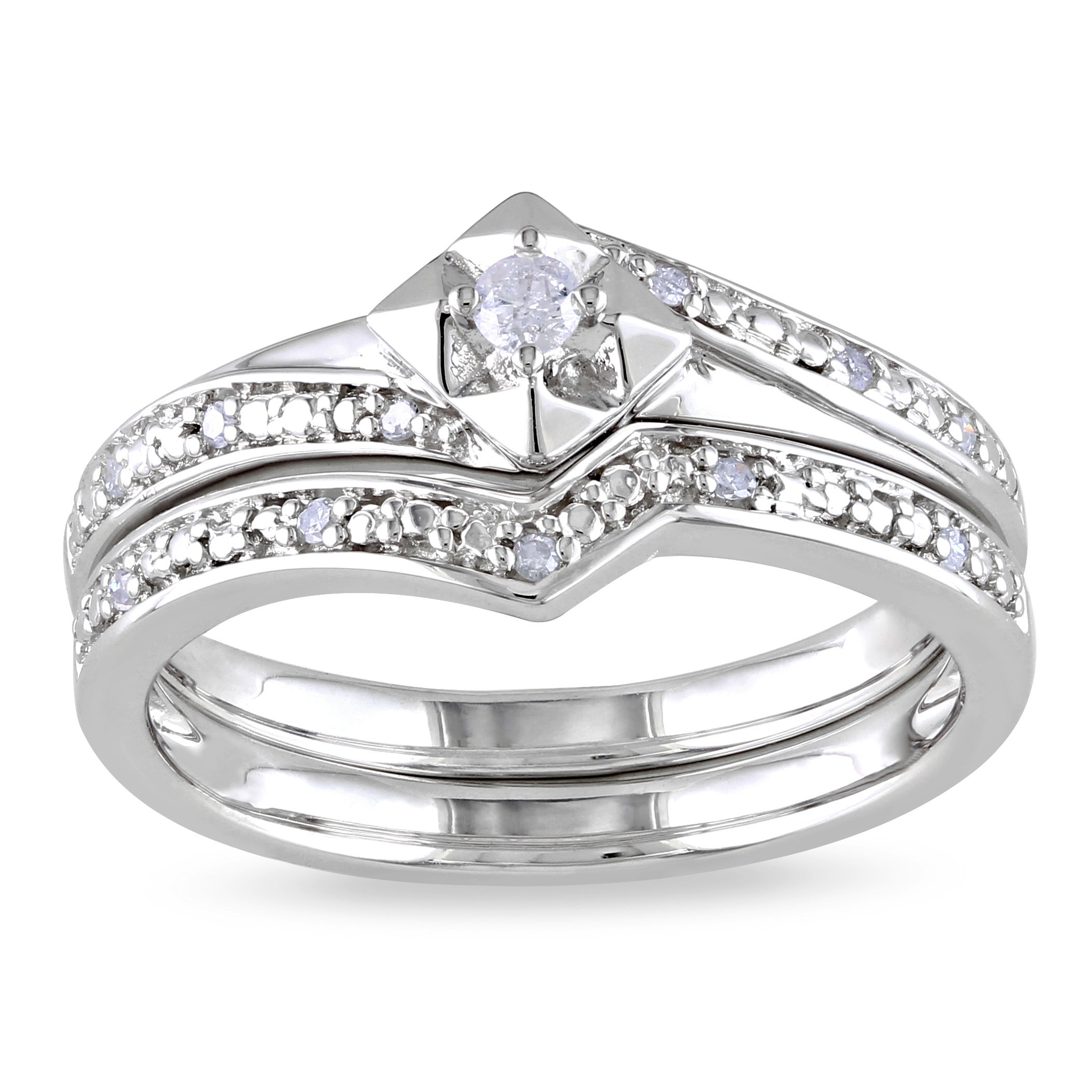 Haylee Jewels Sterling Silver 1/10ct TDW Diamond Bridal Set (H-I, I2-I3)