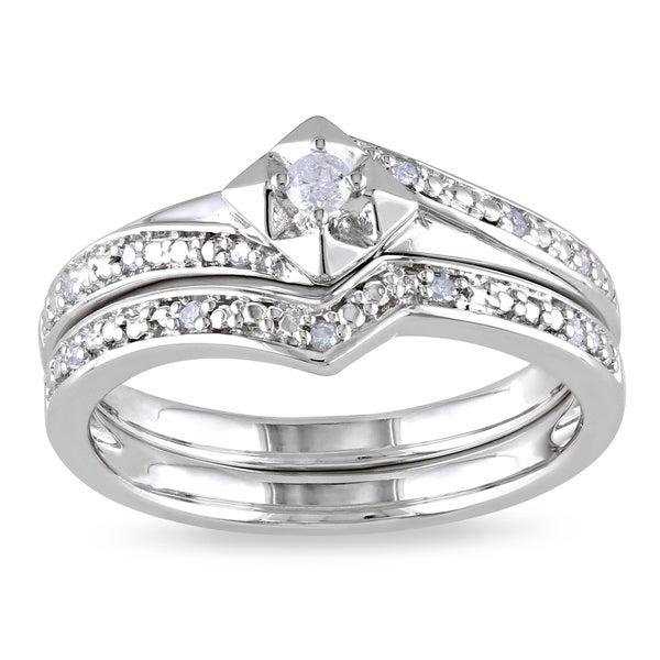 Haylee Jewels Sterling Silver 1/10ct TDW Diamond Bridal Set (H-I, I2-I3)