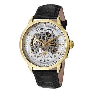 Stuhrling Original Men's Executive Skeleton Automatic Leather Strap Watch
