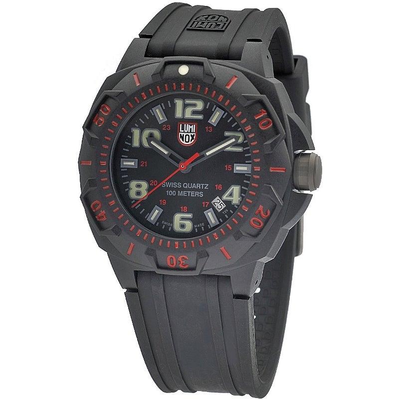 Luminox Men's A.0215.SL 'Sentry' Black/Red Dial Black Rubber Strap Time Date Quartz Watch