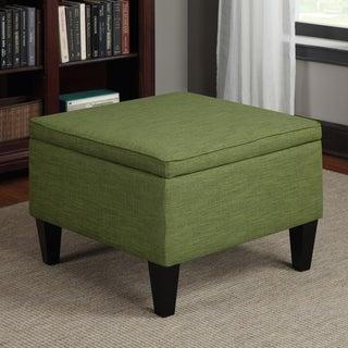 Portfolio Engle Apple Green Linen Table Storage Ottoman
