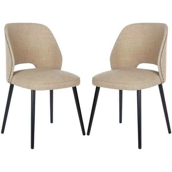 Safavieh Retro Nail head Straw Velvet Blend Side Chairs (Set of 2)