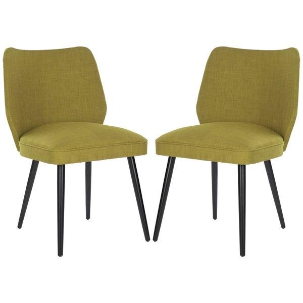 Safavieh Retro Nail head Green Linen Blend Side Chair (Set of 2)