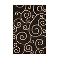 Contemporary Indo Hand-Tufted Black/Ivory Wool Rug (4' x 6')