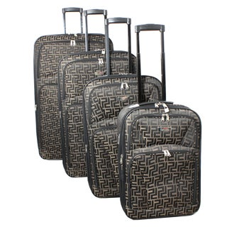 Centurion 4-piece Brown Expandable Wheeled Upright Luggage Set
