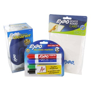 Expo Dry Erase Markers 4/PK, 2-In-1 Cleaner, White Board Polishing Cloth Set