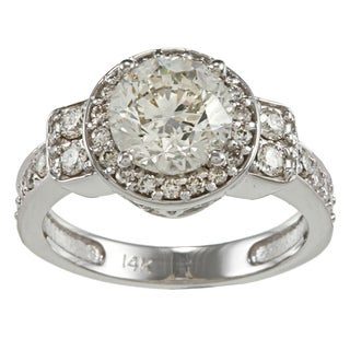 14k White Gold 2 3/4ct TDW Certified Diamond Engagement Ring (H-I, I2-I3)