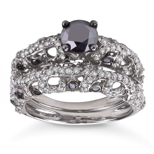 2ct TDW Black and White Diamond Bridal Ring Set (H-I, I1-I2)