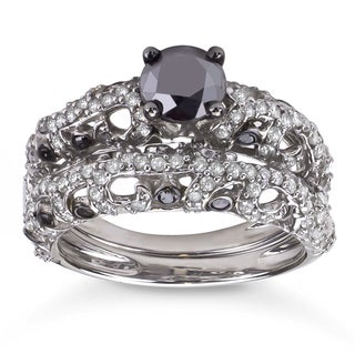 2ct TDW Black and White Diamond Bridal Ring Set (H-I, I1-I2)