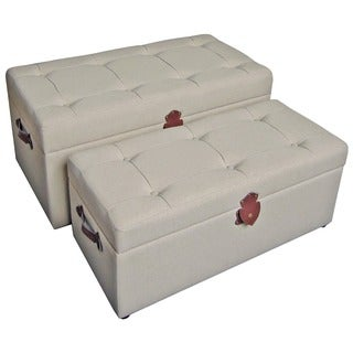 International Caravan Tufted Fabric Trunks/ Benches (Set of 2)