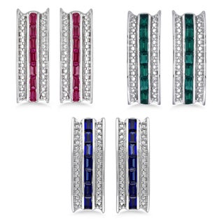 M by Miadora Sterling Silver Emerald, Sapphire or Ruby Earrings