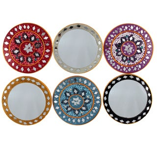 Handmade Set of 6 Purse Mirrors with Satin Pouches (India)