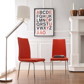 INSPIRE Q Matilda Hot Red Retro Modern Dining Chair (Set of 2)