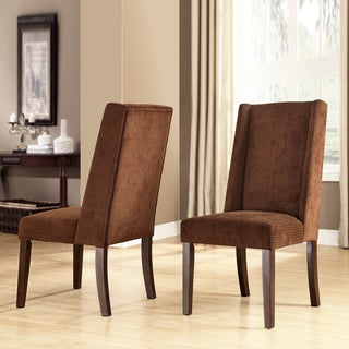 TRIBECCA HOME Ian Chocolate Chenille Wingback Dining Chair (Set of 2)