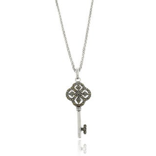 Dolce Giavonna Silverplated Marcasite Lucky Four Key Necklace
