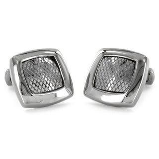 Crucible Stainless Steel Square Textured Grid Cuff Links