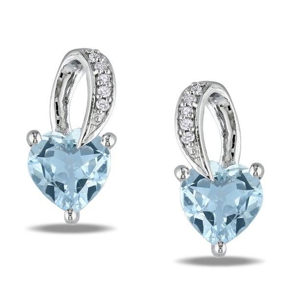 Miadora Sterling Silver Aquamarine and Diamond Heart Earrings (H-I,I3)