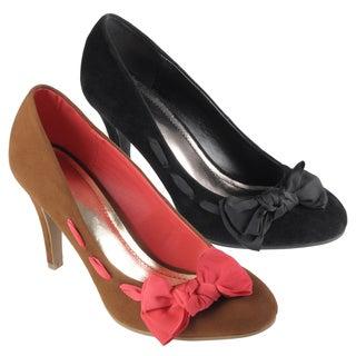 Journee Collection Women's 'Boutique-47' Almond Toe Bow Accent Pump