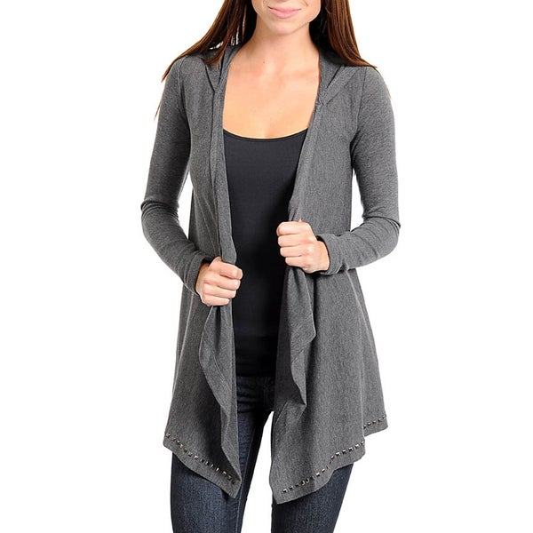 Stanzino Women's Hooded and Studded Long Sleeve Open Front Sweater