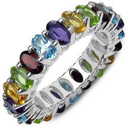 Malaika Sterling Silver 6 3/4ct TGW Multi-gemstone Eternity Ring