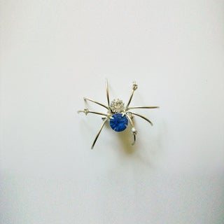 Silverplated Crystal & Wire Spider Pin