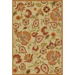 Handmade Blossom Paisley Beige Wool Rug (8&#39; x 10&#39;)