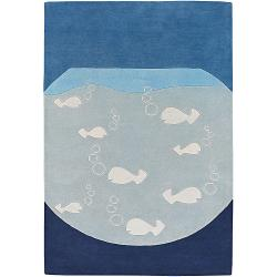 Hand-tufted Mandara Blue New Zealand Wool Rug (5' x 7'6)