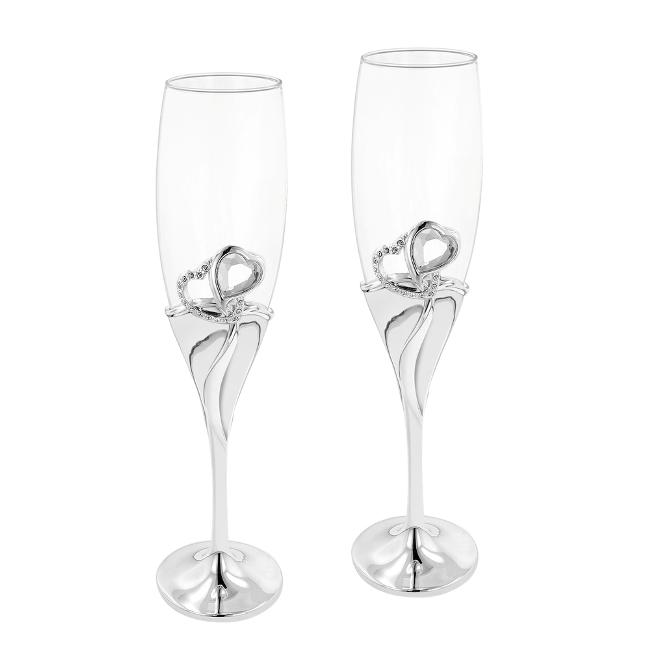 Double Heart 'Our Moment' Champagne Toasting Flutes (Set of 2)