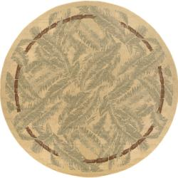 Picnic Tan Botanical Indoor/Outdoor Rug (7'3 Round)