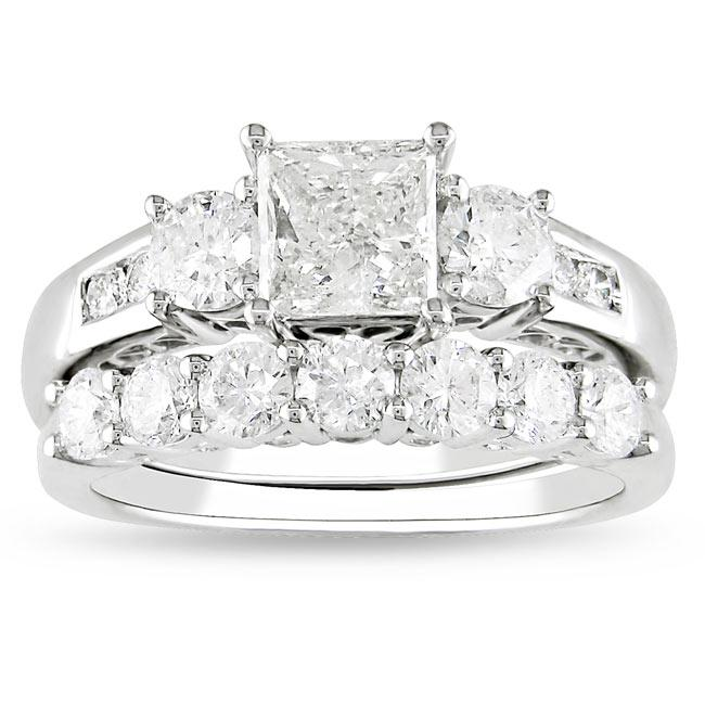 Miadora 14k White Gold 2 1/5ct TDW Diamond Bridal Ring Set (G-H, I1-I2)
