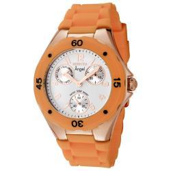Invicta Women's 'Angel' White Dial Orange Silicon Strap Watch
