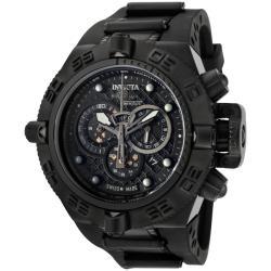 Invicta Men's 'Subaqua' Rubber Strap Black Ion-plated Chronograph Watch