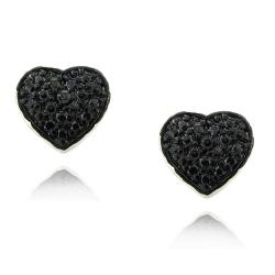Sterling Silver Black Diamond Accent Heart Earrings