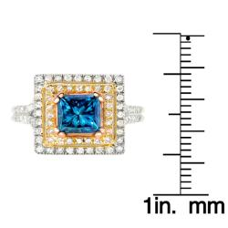 14k Two-tone Gold 1 7/8ct TDW Blue and White Diamond Ring (G-H, SI2)