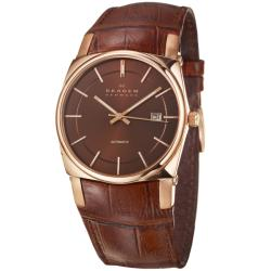 Skagen Men's 'Leather' Rose Goldplated Automatic Watch