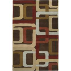 Hand-tufted Brown Contemporary Multi Colored Square Mayflower Wool Geometric Rug (9' x 12')