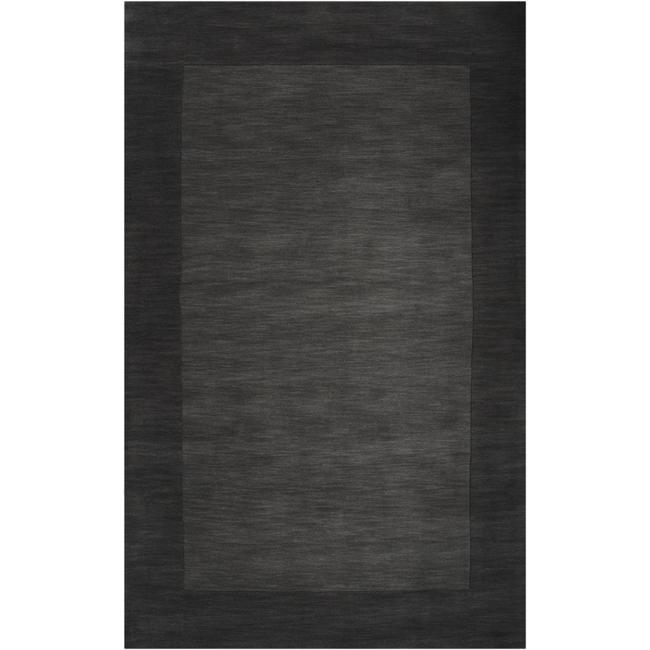 Hand-crafted Black Tone-On-Tone Bordered Wool Rug (6' x 9')