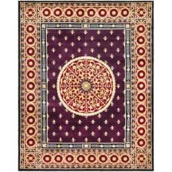 Asian Hand-knotted Fleur-de-lis Royal Purple Wool Rug (6' x 9')