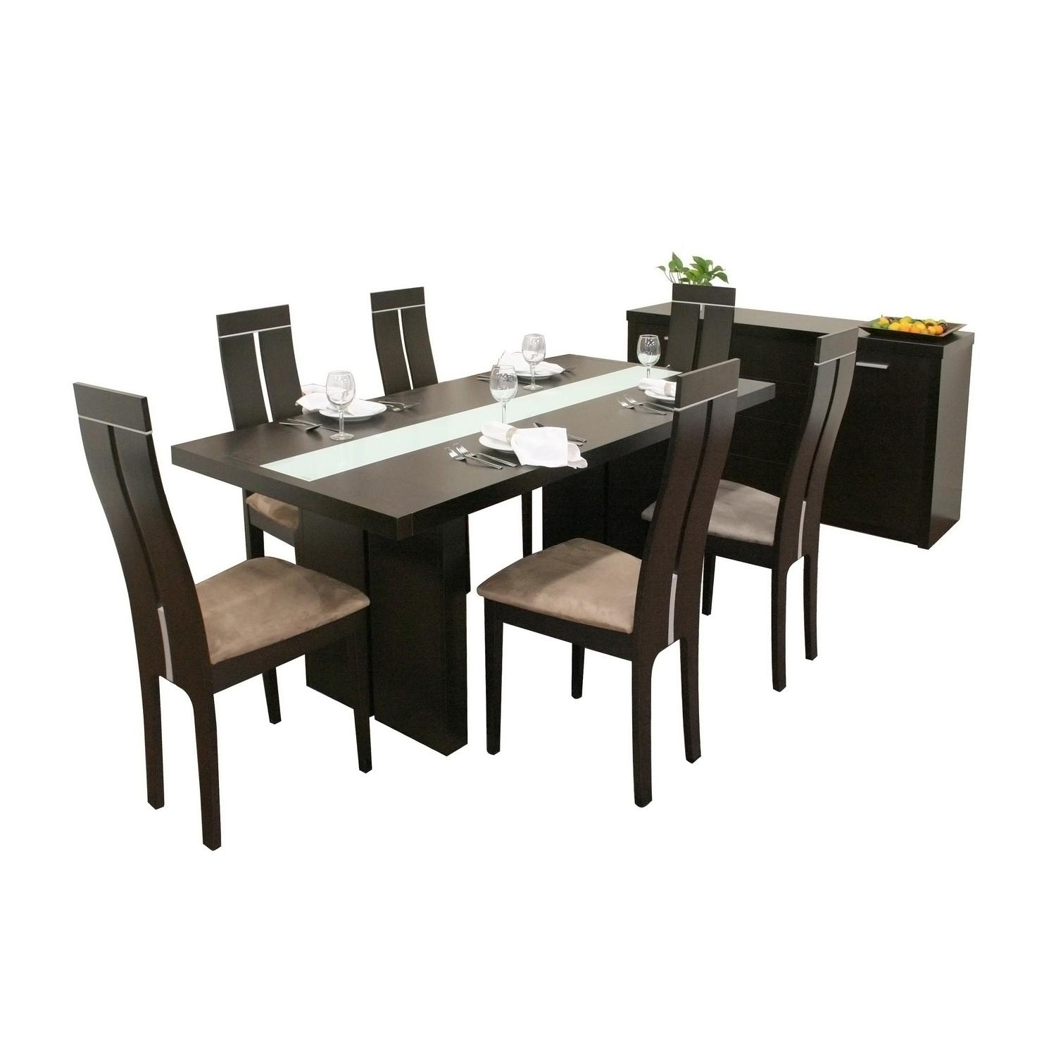 Magness 8-piece Dark Brown Modern Dining Set