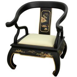 Wood Black Landscape Ming Chair (China)