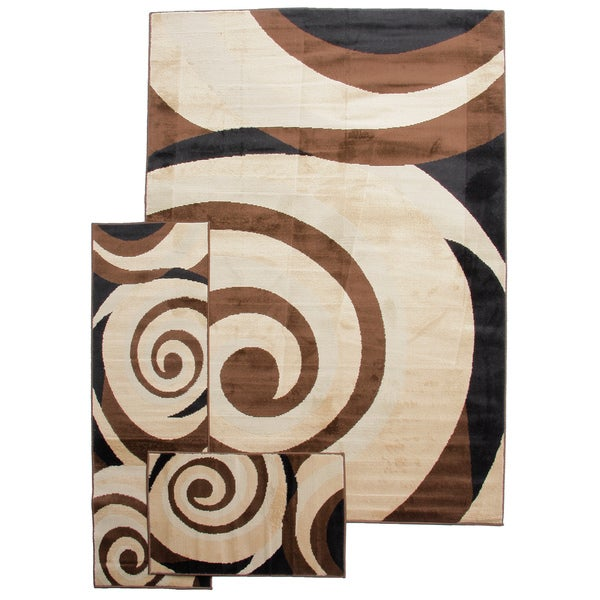 Contemporary Scrolls Waves Beige Ivory 3-piece Rug Set