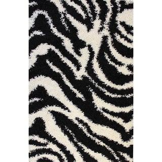Shag Plush Zebra Black Area Rug (5' x 7'2)