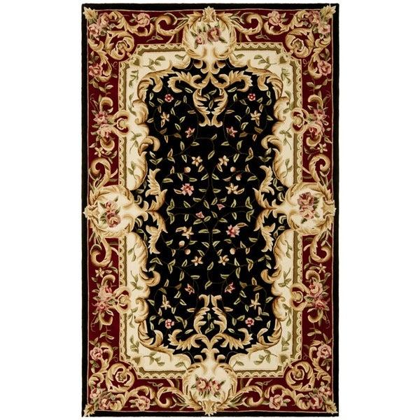 Safavieh Handmade Garden Scrolls Black New Zealand Wool Rug