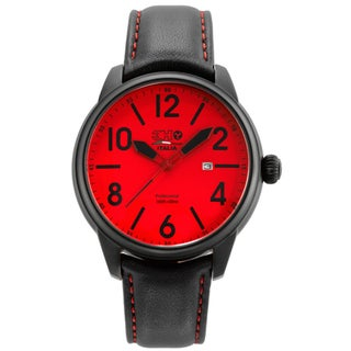 3H Men's Black Band Red Stitching Water Resistant Date Watch