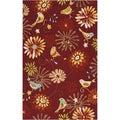 Hand-hooked Corral Indoor/Outdoor Floral Rug (9' x 12')