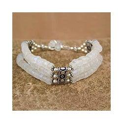 Sterling Silver 'Pure Love' Moonstone Bracelet (India)