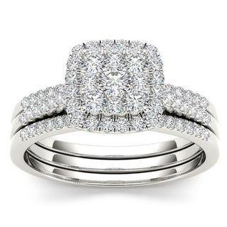 De Couer 10k White Gold 1/2ct TDW Diamond Bridal Ring Set (H-I, I2)