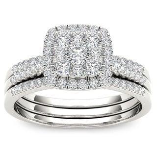 De Couer 10k White Gold 1/2ct TDW Diamond Engagement Ring Set (H-I, I2)