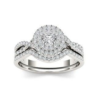 De Couer 10k Gold 3/4ct TDW Diamond Halo Bridal Ring Set (H-I, I2)
